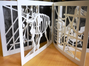 Cut paper work inspired by the layers in the Museum