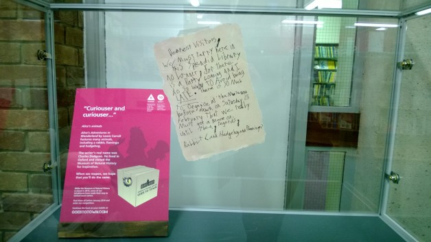 A note left behind by the white rabbit, Oxford Central Library